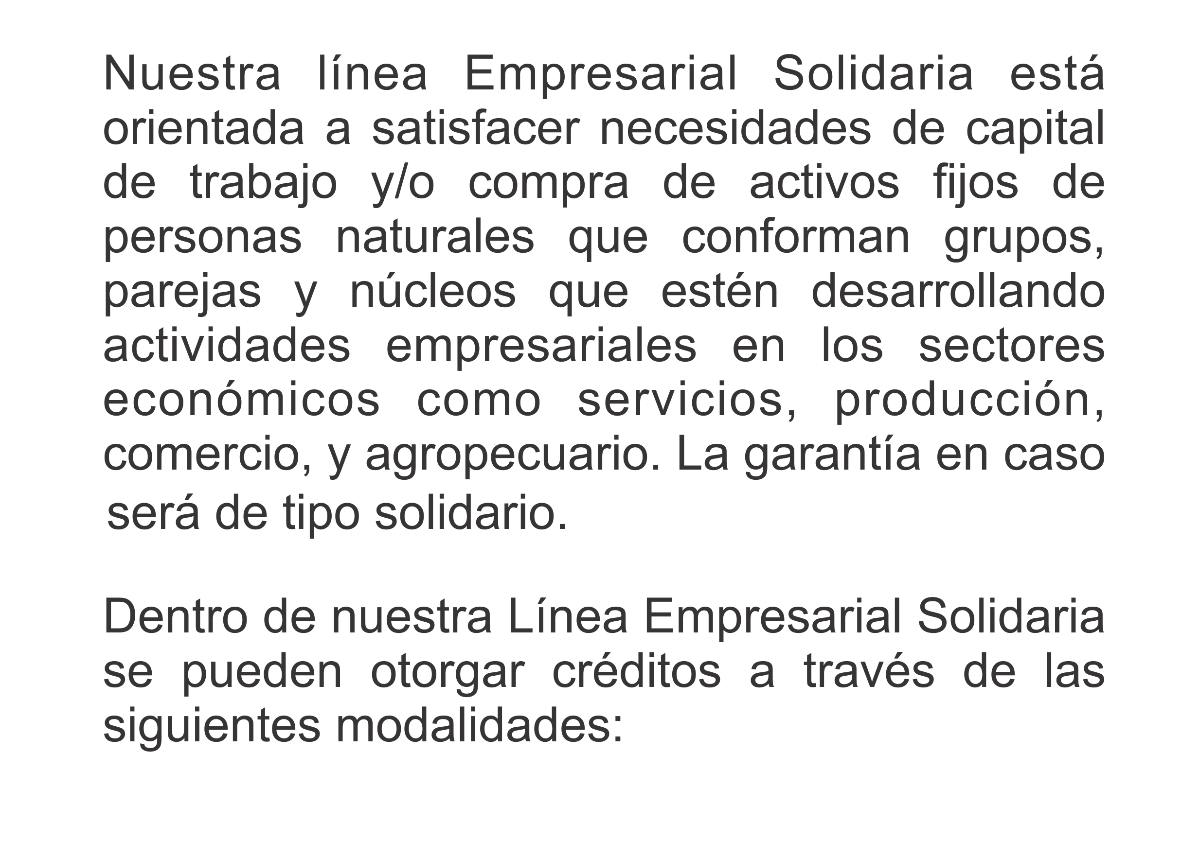 texto linea de crédito solidaria