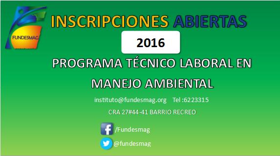 Inscripciones Abiertas Programa Técnico Laboral en Manejo Ambiental